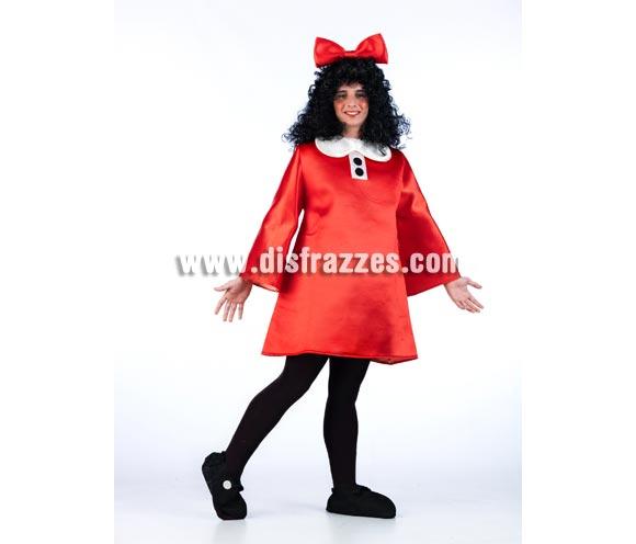 Disfraz de Mafalda para adultos. Talla Universal. Incluye vestido, lazo de la cabeza y cubrezapatos. Peluca NO incluida, podrás verla en la sección de Complementos con la ref. 314RAY. Disfraz original y exclusivo ideal para Peñas, Grupos y Comparsas.