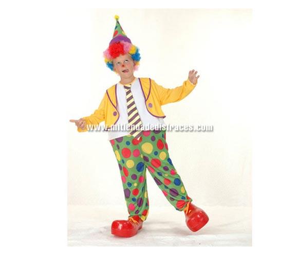 Disfraz de Payaso Aro niño económico talla de 10 a 12 años. Incluye sombrero y mono con aro y corbata. Peluca y zapatones NO incluidos, podrás verlos en la sección de Complementos.