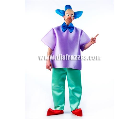 Disfraz de Krusty el Payaso de los Simpson para hombre. Disponible en 2 tallas. Incluye calva con pelo, camisa con pajarita, pantalones y cubrepies.