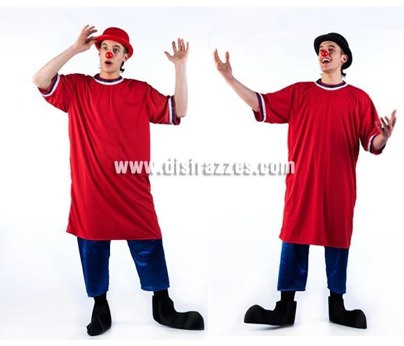 Disfraz de Payaso de la Tele SIN gorro para hombre. Talla Universal. Incluye camisón, pantalón semi corto ( estilo pantalón pirata) y cubrepies. Bombín NO incluido, en la imagen damos 2 ejemplos para que veas cómo queda con el Bombín rojo o negro.