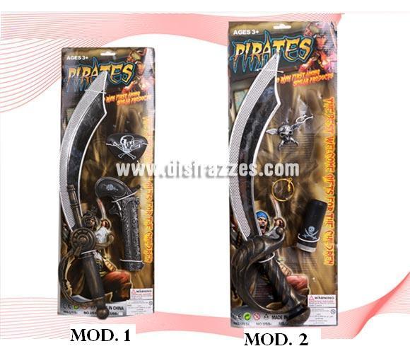Set Espada de Pirata compuesto por varios artículos. Dos modelos surtidos. Precio por unidad, se venden por separado.