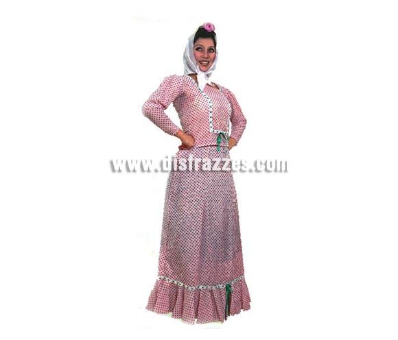 Disfraz de Madrileña o Chulapa para mujer. Talla Universal M-L = 38/42. Incluye vestido y pañuelo. Éste traje es ideal para la Feria de San Isidro de Madrid.