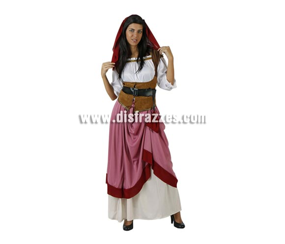 Disfraz de Moza Criada Medieval para mujer. Talla 2 ó talla Standar M-L = 38/42. Incluye tocado, falda, camisa, chaleco y cinturón. Éste traje de Mesonera, Tabernera o Posadera de mujer es perfecto para las Ferias Medievales.
