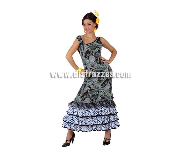 Disfraz barato de Faralae estampado para mujer. Talla standar M-L = 38/42. Incluye vestido. Éste traje de Sevillana o Flamenca es perfecto para la Feria de Abril.