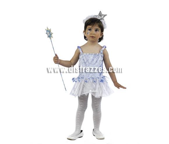 Disfraz de Ninfa de las Nieves Deluxe para niña. Alta calidad, hecho en España. Disponible en varias tallas. Incluye vestido y diadema. Varita NO incluida, podrás encontrar varitas en la sección de Complementos.