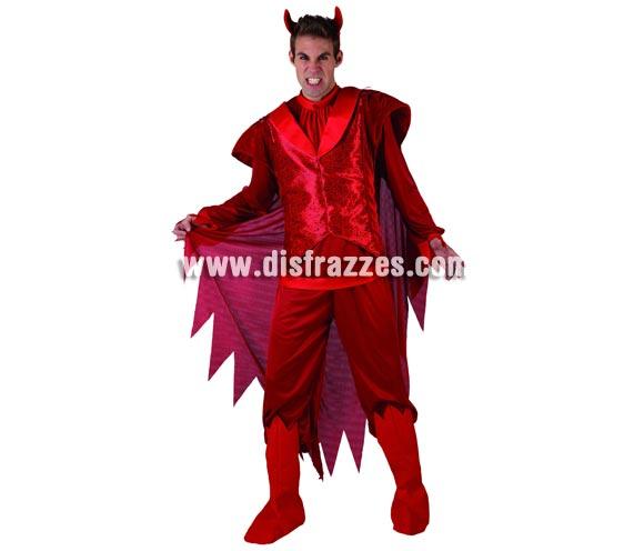 Disfraz de Demonio o Diablo para hombre. Talla XL = 54/58. Incluye camisa, pantalon, cubrebotas, capa y diadema con cuernos.