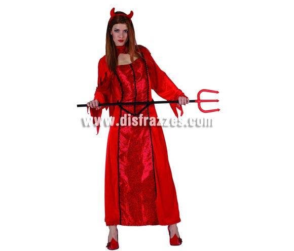 Disfraz de Diablesa o Demonia para mujer. Talla 2 (Standar M-L = 38/42).Incluye vestido, diadema y collar. Tridente NO incluido, podrás encontrar en nuestra sección de Complementos.