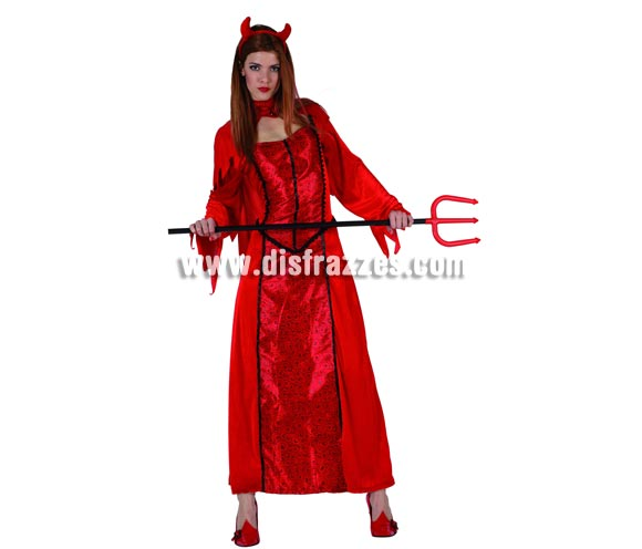 Disfraz de Diablesa o Demonia para mujer. Talla 3 XL = 44/48). Incluye vestido, collar y diadema diablesa. Tridente NO incluido, podrás encontrar en nuestra sección de Complementos.