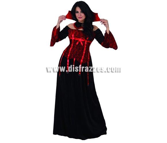 Disfraz de Vampiresa para mujer. Talla 3 (XL = 44/48. Incluye vestido y cuello.