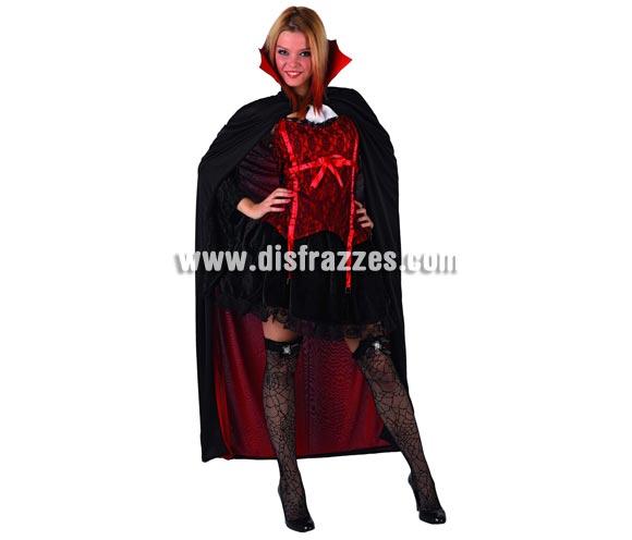 Disfraz de Vampira para mujer. Talla 1 = S = 34/38. Incluye corpiño, falda, capa y cuello. Accesorios NO incluidos. Serie Gold.