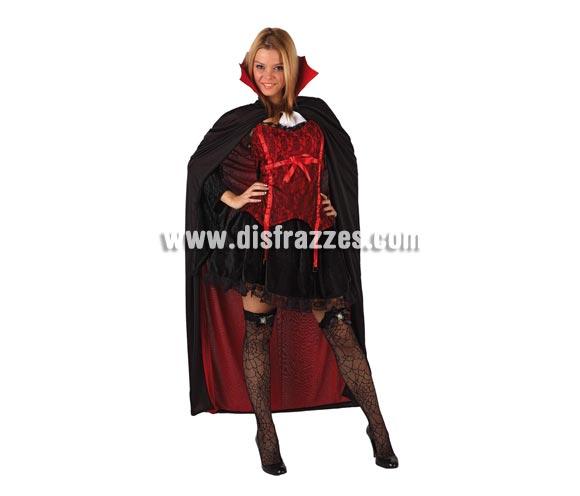 Disfraz de Vampira para mujer. Talla 2 ó talla Standar M-L = 38/42. Accesorios NO incluidos. Serie Gold. Incluye vestido, capa y cuello.
