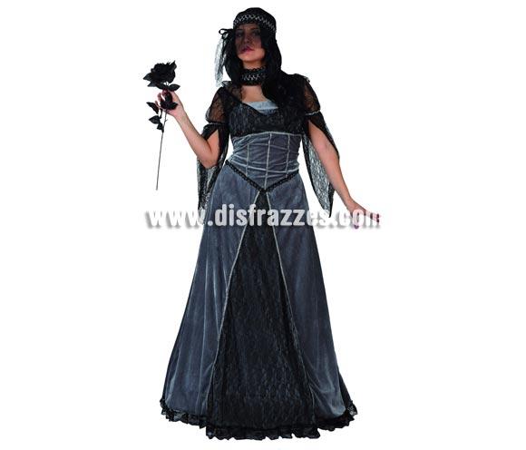 Disfraz de Novia de las Tinieblas para mujer. Talla 2 ó talla Standar M-L = 38/42. Incluye vestido, collar y sombrero.  Accesorios NO incluidos, podrás encontrarlos en nuestra sección de Complementos. Disfraz de Novia Cadaver para chica. Serie ORO.