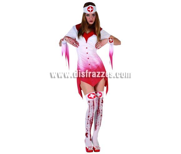 Disfraz de Enfermera Sangrienta para mujer. Incluye vestido, manguitos y cofia. Medias NO incluidas, podrás encontrar en nuestra sección de Complementos. Talla 2 = M-L = 38/42.