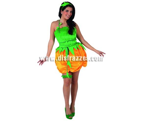 Disfraz de Calabaza para mujer. Talla 1 = S = 34/38. Novedoso disfraz perfecto para Halloween. Incluye falda, liga, corpiño, cinturón y diadema.