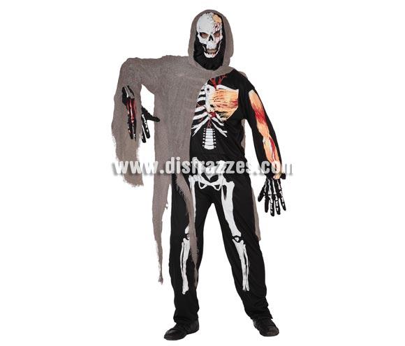 Disfraz barato de Esqueleto para hombre. Talla 3 = XL = 54/58.