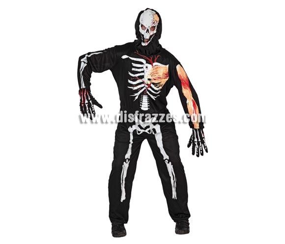 Disfraz de Esqueleto barato para hombre. Talla 2 = M-L = 52/54. Incluye mono, guantes y capucha.