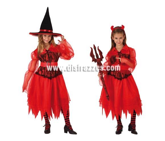 Disfraz de Bruja / Demonio para niñas. Talla de 3 a 4 años. Incluye vestido, el sombrero de Bruja y la diadema de Demonia. Éste disfraz es como un 2 x 1, podrás vestir a la niña 2 veces diferentes con el mismo disfraz. Tridente y medias NO incluidos.