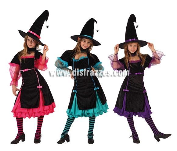 Disfraz de Bruja con cuello Araña para niñas. Talla de 7 a 9 años. Disponible en 3 colores surtidos. Precio por unidad. Incluye vestido y sombrero. Medias NO incluidas.