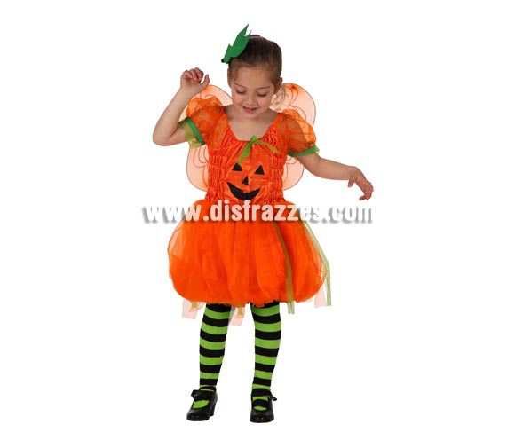 Disfraz de Calabaza con alas para niña. Talla de 3 a 4 años. Incluye vestido, alas y hoja del pelo. Medias NO incluidas.