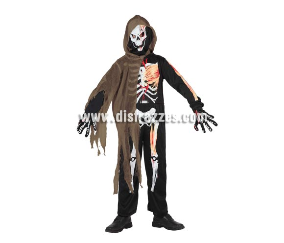 Disfraz barato de Esqueleto niño con tela gris 5-6 años