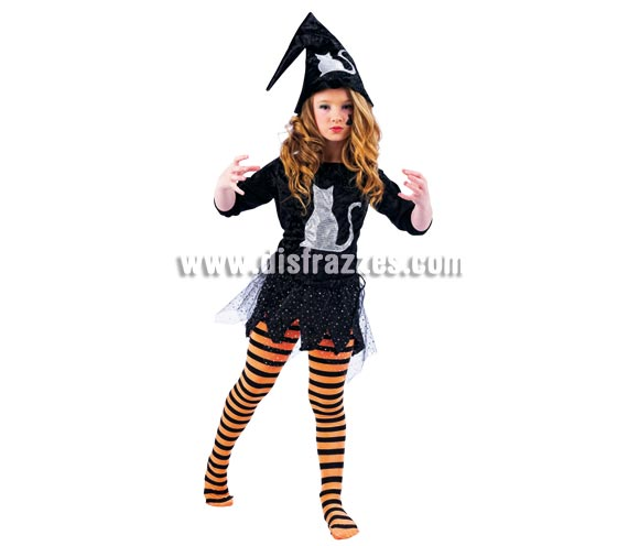 Disfraz de Bruja Gato Deluxe para niña. Alta calidad, hecho en España. Disponible en varias tallas. Incluye vestido, tu-tu y gorro. Medias NO incluidas.