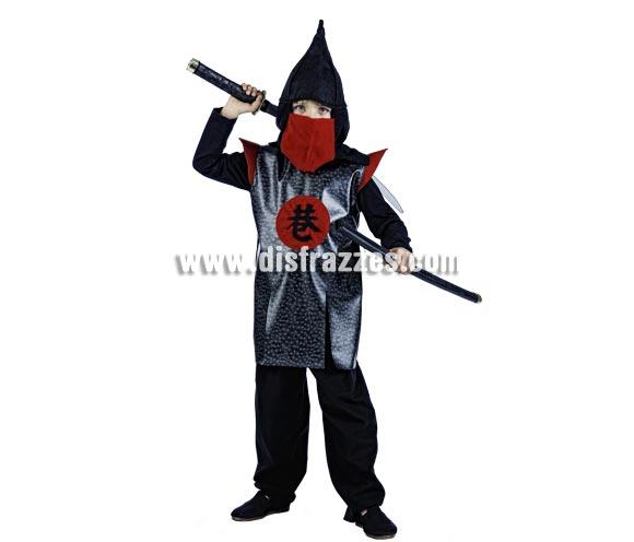 Disfraz de Guerrero Oriental Deluxe para niño. Alta calidad, hecho en España. Disponible en varias tallas. Incluye pantalón, gorro y casaca. Espada ninja NO incluida, podrás encontrar en nuestra sección de Complementos.