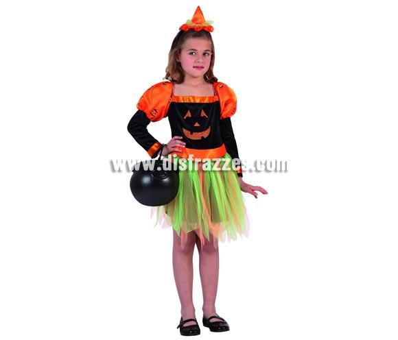 Disfraz de Bruja Calabaza para niña. Talla de 3 a 4 años. Caldera NO incluida, podrás verla en la sección de Complementos. Serie ORO alta calidad.
