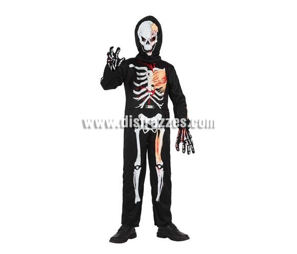 Disfraz barato de Esqueleto para niños. Talla de 5 a 6 años. Incluye mono, capucha y guantes.