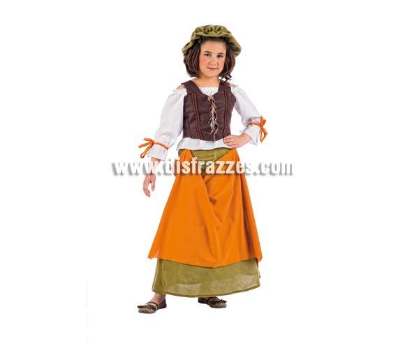 Disfraz de Tabernera Medieval Agnes Deluxe para niña. Alta calidad, hecho en España. Disponible en varias tallas. Incluye camisa, corpiño, falda y gorro.