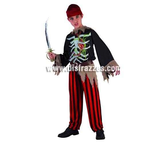 Disfraz de Esqueleto Pirata para niño. Talla de 10 a 12 años. Espada NO incluida.