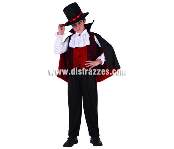 Disfraz de Vampiro para niño. Talla de 5 a 6 años. Serie calidad ORO. Incluye camisa con capa, cuello, pantalon y sombrero.