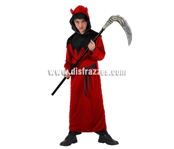 Disfraz barato de Demonio o Diablo para niños. Talla de 5 a 6 años. Incluye vestido y cinturón. Guadaña NO incluida, podrás ver éste artículo o similares en la sección de Complementos.