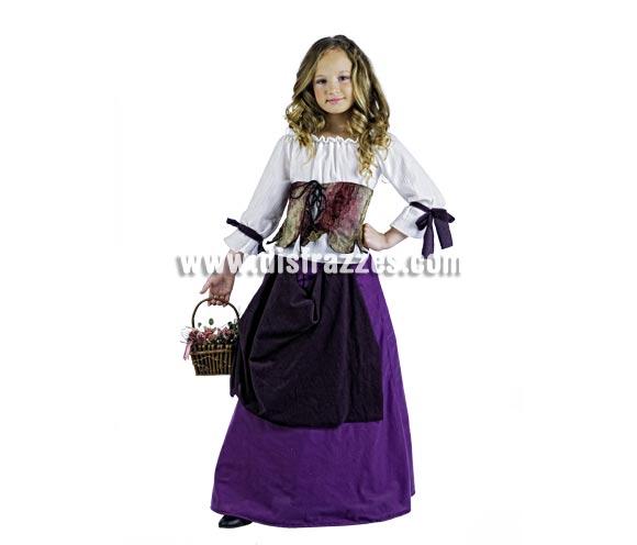 Disfraz de Tabernera Medieval Deluxe para niña. Alta calidad, hecho en España. Disponible en varias tallas. Incluye camisa, corpiño y falda. Cesta No incluida.