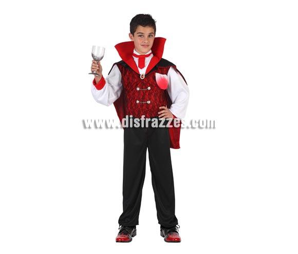 Disfraz de Vampiro con corbata para niño. Talla de 7 a 9 años. Disfraz de Drácula en tallas de niño para Halloween. Incluye camisa, cuello y pantalon.