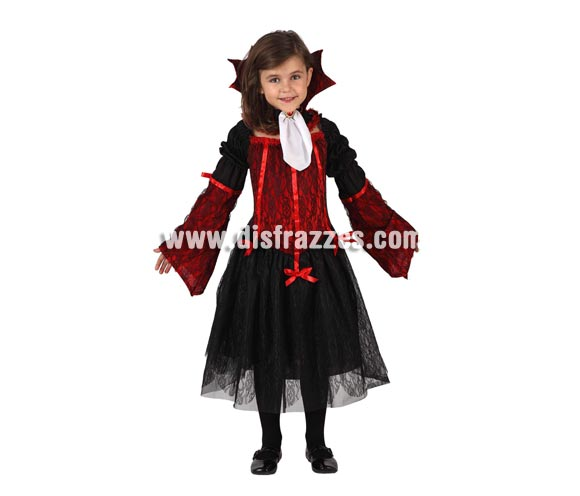 Disfraz de Vampiro para niña. Talla de 7 a 9 años. Disfraz de Vampira o Vampiresa para niñas perfecto para Halloween. Incluye vestido y pañuelo.