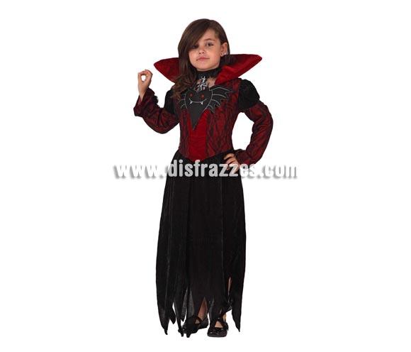 Disfraz de Vampira para niña. Talla de 5 a 6 años. Incluye disfraz completo. Disfraz de Vampiresa o Vampiro niña para Halloween.