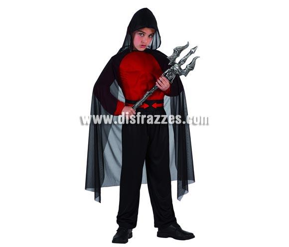 Disfraz de Guardian del Infierno para niño. Talla de 5 a 6 años. Incluye camisa, pantalón, cinturón y capa.Tridente NO incluido, podrás verlo en la sección de Complementos.