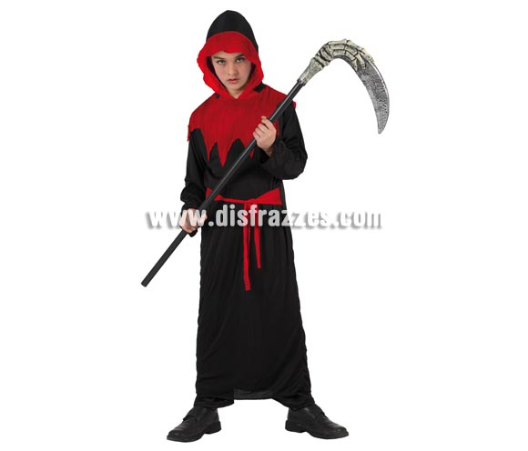 Disfraz muy barato de Zombie Encapuchado para niño. Talla de 5 a 6 años. Incluye vestido y cinturón. Guadaña NO incluida, podrás ver ésta o parecidas en la sección de Complementos.