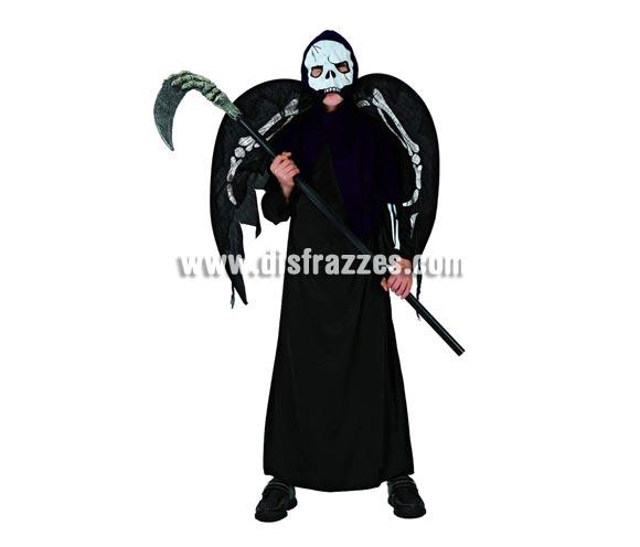 Disfraz de Mensajero de la Muerte para niño. Talla de 7 a 9 años. Guadaña NO incluida, podrás ver ésta o similares en la sección de Complementos para Halloween.