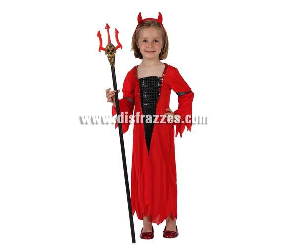 Disfraz barato de Diablesa o Demonio rojo para niña. Talla de 7 a 9 años. Incluye vestido y diadema. Tridente NO incluido, podrás verlo en la sección de Complementos.