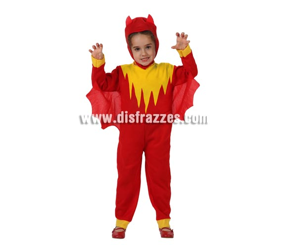 Disfraz barato de Demonio o Diablillo para bebés de 12 a 24 meses. Incluye vestido y capucha.