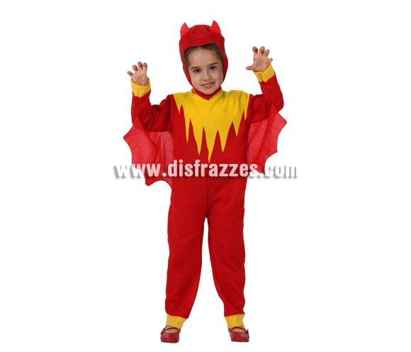 Disfraz barato de Demonio o Diablillo para niños de 3 a 4 años. Incluye disfraz y capucha.