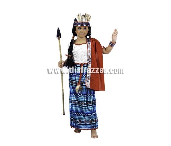 Disfraz de Princesa Piel Roja Deluxe para niña. Alta calidad, hecho en España. Disponible en varias tallas. Incluye vestido con mantón, puños y diadema. Lanza NO incluida, podrás encontrar lanzas en nuestra sección de Complementos.
