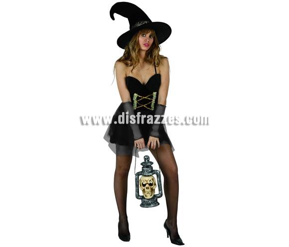 Disfraz de Bruja Sexy para mujer. Talla standar M-L = 38/42. Incluye vestido y sombrero.