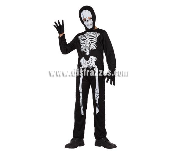 Disfraz de Esqueleto super barato para niños. Talla de 10 a 12 años. Incluye mono, capucha y guantes.