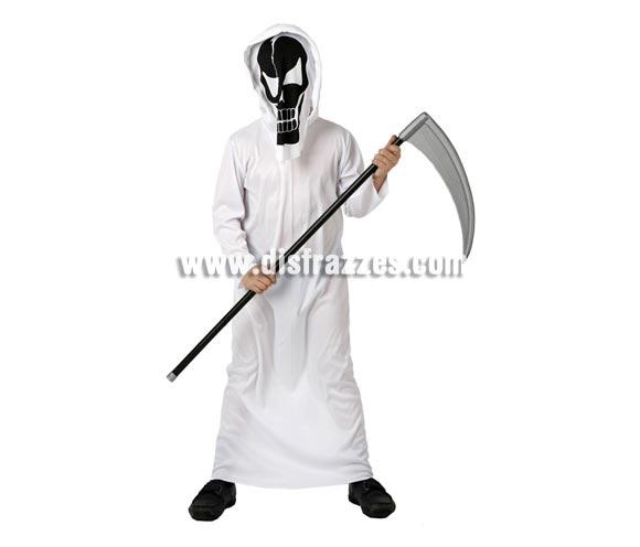 Disfraz de Esqueleto de la Muerte para niño. Talla de 10 a 12 años. Incluye túnica y careta. Guadaña NO incluida, podrás verla en nuestra sección de Complementos.