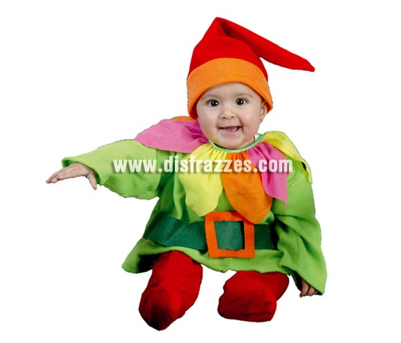 Disfraz de Enanito bebé talla de 6 a 12 meses. Incluye gorro, camisa, cinturón y pantalones. Disfraz de Elfo, Duende o Duendecillo para Navidad o para Carnaval. ¡¡Compra tu disfraz para Navidad o para Carnaval en nuestra tienda de disfraces, será divertido!!