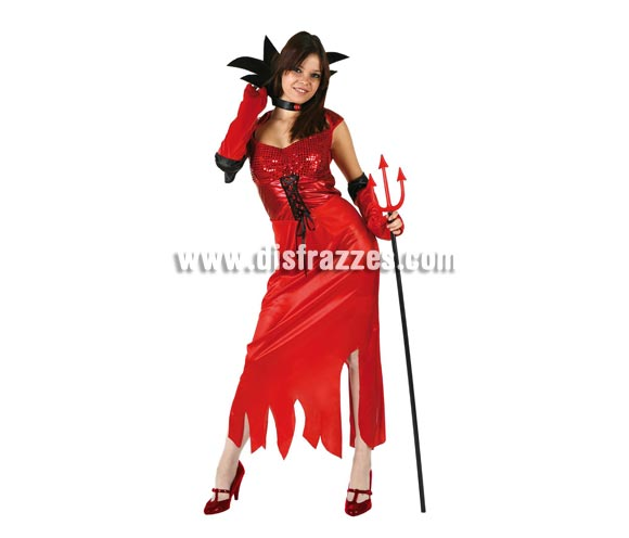 Disfraz de Demonia o Diablesa para mujer. Talla standar M-L = 38/42. Incluye vestido, mangas y cuello. Tridente NO incluido, podrás verlo en la sección de Complementos.