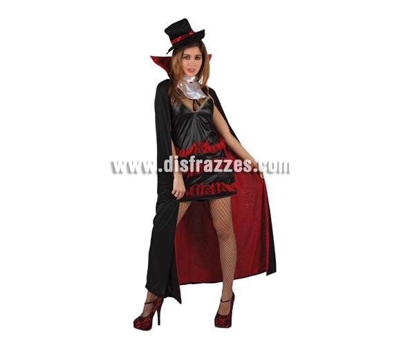 Disfraz de Dama Sexy de la Noche para mujer. Talla standar M-L = 38/42. Incluye sombrero, vestido, capa y cuello. Disfraz de Vampiresa Sexy para Halloween.