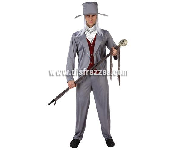 Disfraz de Novio de las Tinieblas para hombre. Talla 2 ó talla Standar M-L 52/54. Cetro o Bastón NO incluido. Incluye camisa con cahaleco, pantalon, cuello y sombrero.